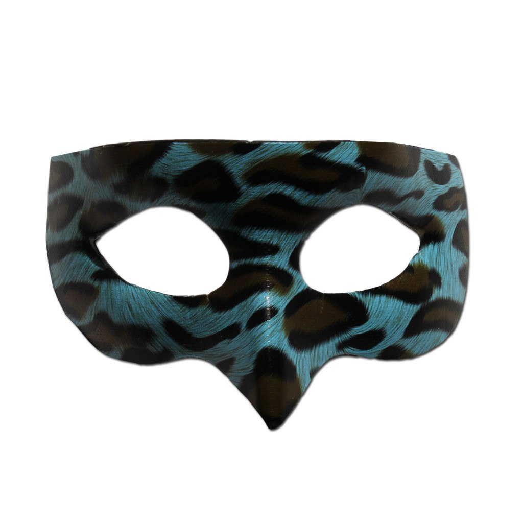 Blue Leopard Masquerade Mask adult one size, animal print, blue, fancy dress, masks, masquerade, venetian, womens