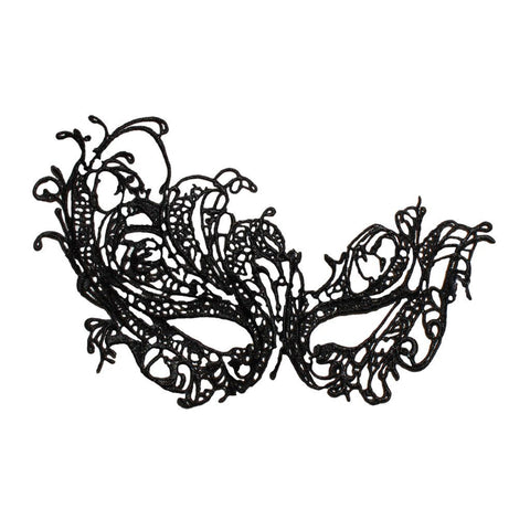 Economy String Masquerade Mask With Flare Black