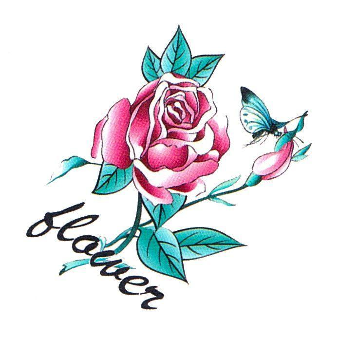 Flower Red Rose Mini Temporary Tattoo childrens, colour, flower, mini, rose, tattoo, wholesale