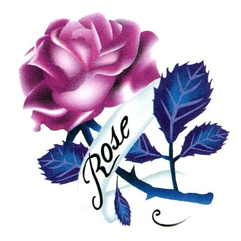 Rose With Blue Leaves Mini Temporary Tattoo childrens, colour, flower, mini, rose, tattoo, wholesale