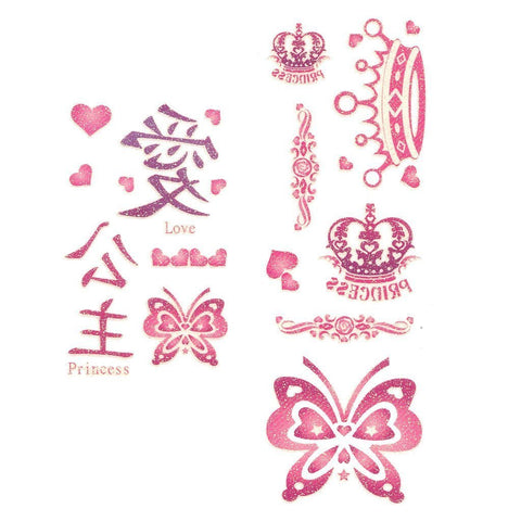 Butterflies And Crowns Pink Glitter Temporary Tattoo animal, butterfly, childrens, colour, crown, glitter, heart, pink, tattoo, wholesale