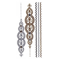 Temporary Tattoo - Silver And Gold Metallic Jewellery Tattoo - Design 11