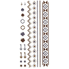 Temporary Tattoo - Silver And Gold Metallic Jewellery Tattoo - Design 15