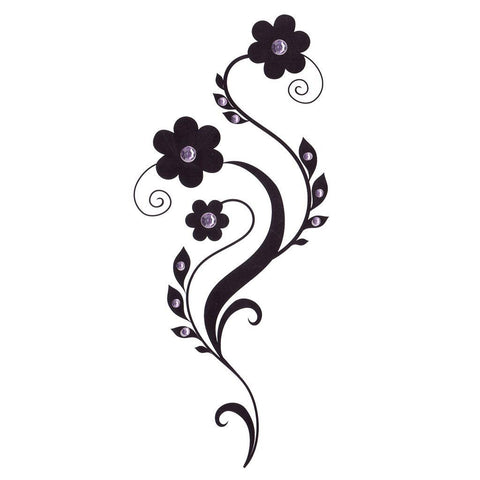 Daisy Temporary Leg Tattoo With Purple Rhinestones ankle, black, flower, leg, rhrinestone, tattoo, wholesale, womens