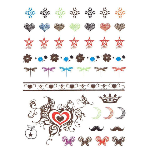 Heart And Moon Temporary Hand Tattoo Pack colour, hand, heart, mustache, tattoo, wholesale