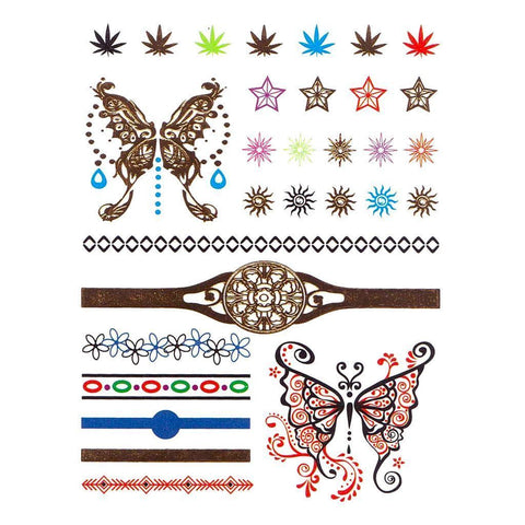 Two Butterflys Temporary Hand Tattoo Pack animal, butterfly, colour, hand, tattoo, wholesale