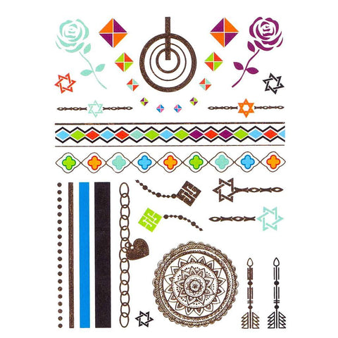 Circle And Patterns Temporary Hand Tattoo Pack colour, hand, tattoo, wholesale