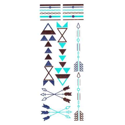 Gold Silver And Turquoise Metallic Jewellery Tattoo - Design 56 ankle, arrow, black, fancy dress, gold, jewellery, metallic, ring, silver, tattoo, turquoise, wholesale, womens, wrist