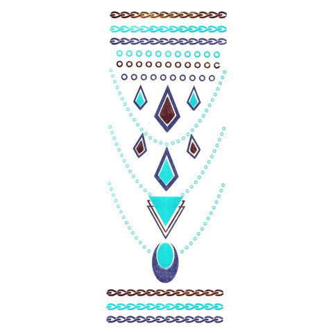 Gold Silver And Turquoise Metallic Jewellery Tattoo - Design 57 ankle, black, fancy dress, gold, jewellery, metallic, necklace, silver, tattoo, turquoise, wholesale, womens, wrist
