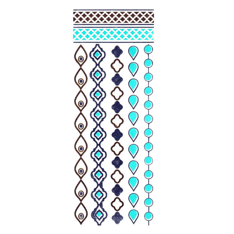 Gold Silver And Turquoise Metallic Jewellery Tattoo - Design 60 ankle, black, bracelet, fancy dress, gold, jewellery, metallic, silver, tattoo, turquoise, wholesale, womens, wrist
