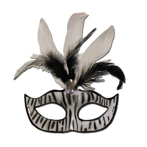 Ladies Zebra Masquerade Mask With Feathers black, carnival, fancy dress, feathers, mardi gras, masks, masquerade, rio carnival, venetian, white, womens, zebra