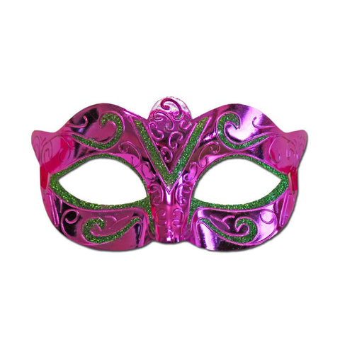 Scout Masquerade Mask Pink With Green Glitter