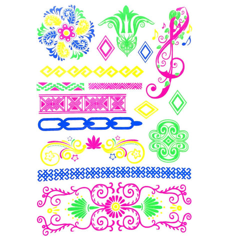 Day-Glo Temporary Tattoos - Design 73 ankle, arm, blue, day-glo, fancy dress, flower, green, jewellery, pink, tattoo, wholesale, womens, wrist, yellow