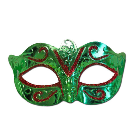 Masquerade Mask - Scout Masquerade Mask Green With Red Glitter