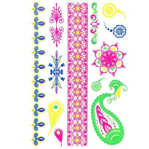 Day-Glo Temporary Tattoos - Design 76 ankle, arm, blue, day-glo, fancy dress, feather, green, jewellery, pink, purple, tattoo, wholesale, womens, wrist, yellow