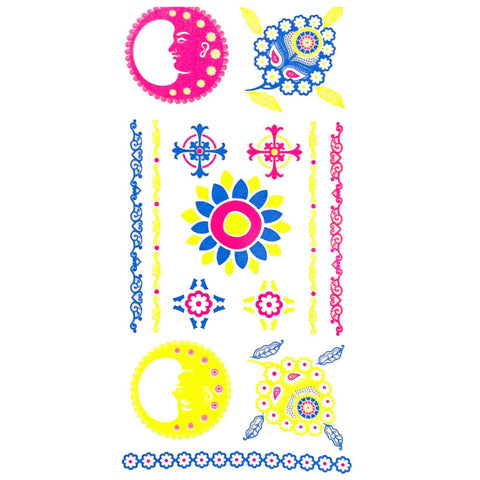 Day-Glo Temporary Tattoos - Design 78 ankle, blue, cross, day-glo, fancy dress, flower, jewellery, moon, pink, sun, tattoo, wholesale, womens, wrist, yellow