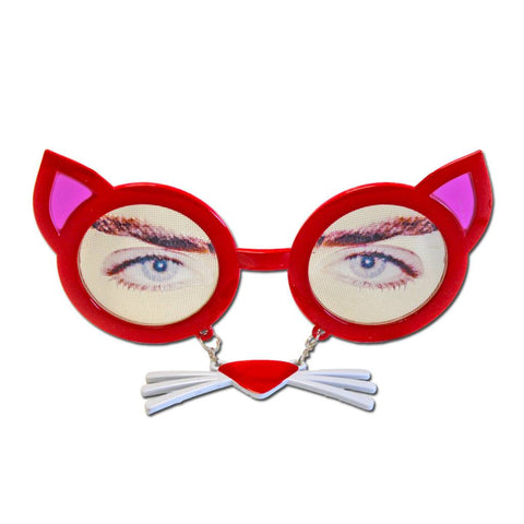Red Cat Glasses With Whiskers accessories, fancy dress, funny, glasses, masquerade, mens, red, womens