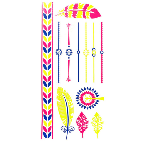 Day-Glo Temporary Tattoos - Design 80 ankle, blue, day-glo, fancy dress, feather, flower, jewellery, pink, tattoo, wholesale, womens, wrist, yellow