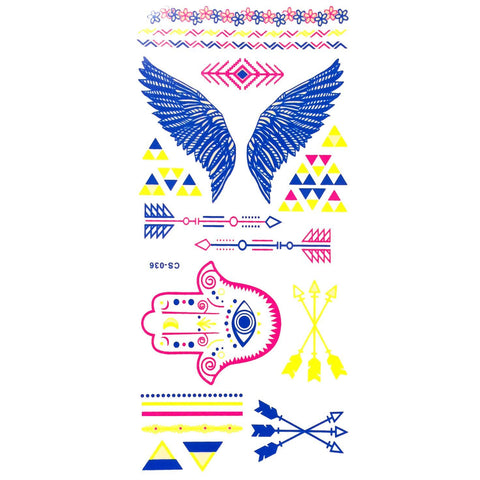 Day-Glo Temporary Tattoos - Design 81 ankle, blue, day-glo, fancy dress, flower, jewellery, pink, tattoo, wholesale, wing, womens, wrist, yellow