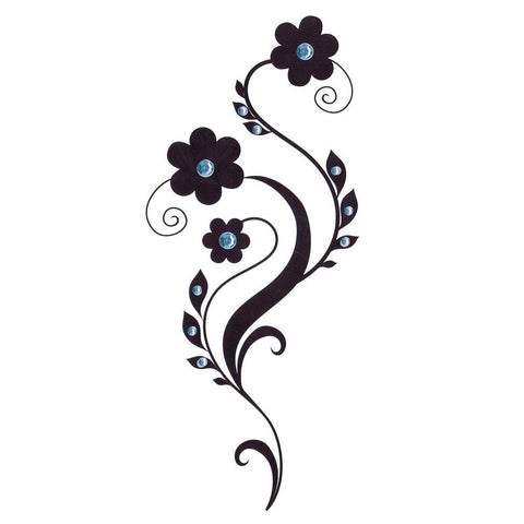 Daisy Temporary Leg Tattoo With Blue Rhinestones ankle, black, flower, leg, rhrinestone, tattoo, wholesale, womens