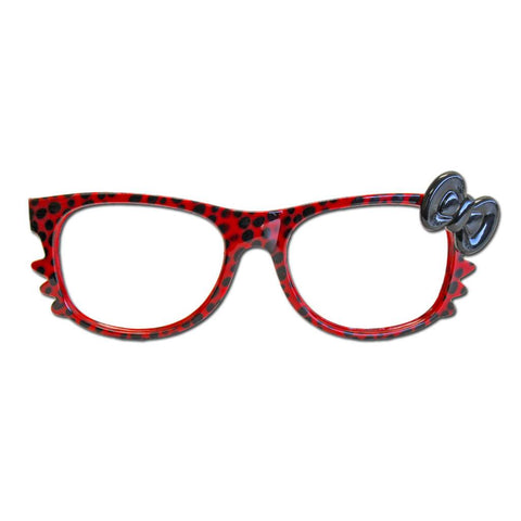 Red Animal Print Costume Glasses