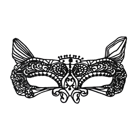 Economy Cat Style Black String Masquerade Mask