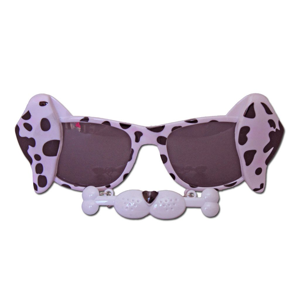 Glasses - White Dalmatian Fancy Dress Glasses With A Hint Of Rose