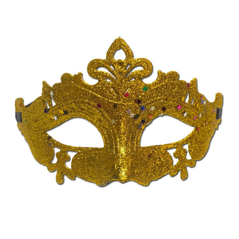 Masquerade Mask - Gold Fancy Glitter Scout Masquerade Mask With Stars