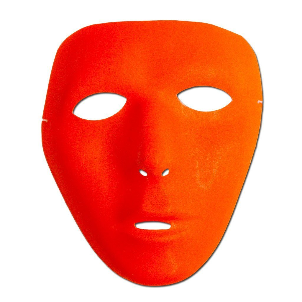 Masquerade Mask - Neon Orange Mat Full Face Party Mask