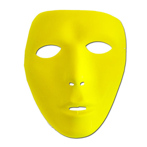 Neon Yellow Mat Full Face Party Mask