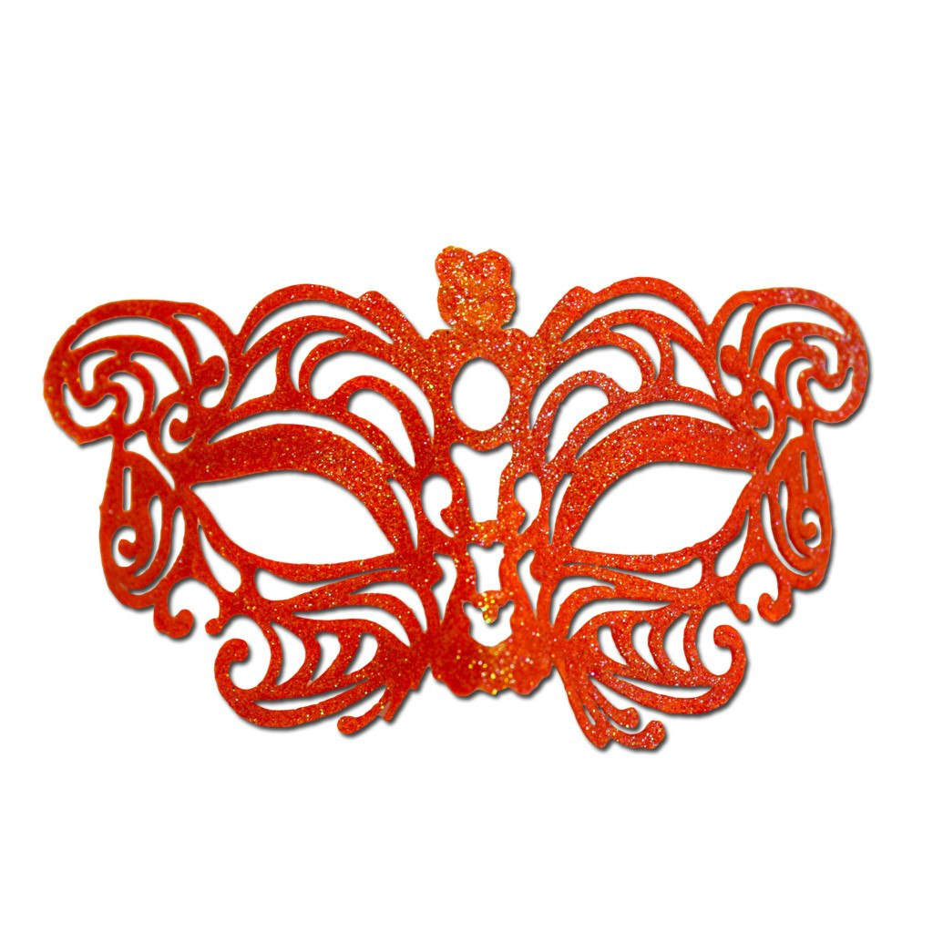 Masquerade Mask - Orange Cat Eye Glitter Masquerade Mask