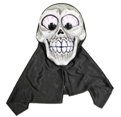PVC Mask - Scary Smiley Skull With Black Hood