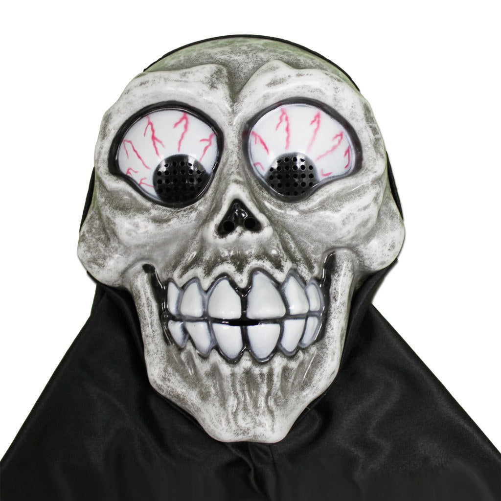 Scary Smiley Skull With Black Hood childrens, costume, fancy dress, half masks, halloween, masks, mens, scary
