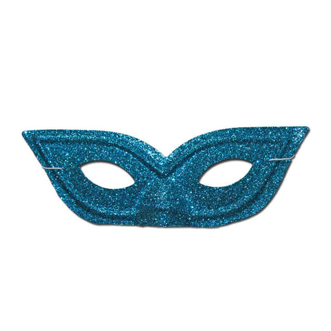 Pointy Light Blue Glitter Masquerade Mask