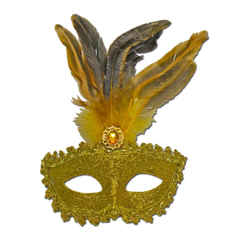Gold Feather And Stone Masquerade Mask