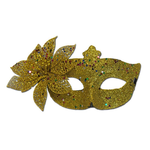 Gold Masquerade Mask Large Flower And Glitter adult one size, fancy dress, glitter, gold, masks, masquerade, venetian, womens