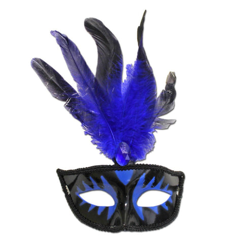 Masquerade Mask With Blue Feathers And Stone adult one size, blue, carnival, fancy dress, feathers, mardi gras, masks, masquerade, rio carnival, venetian, womens