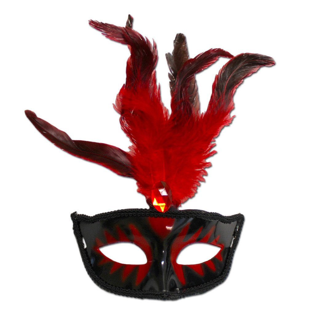 Masquerade Mask With Red Feathers And Stone adult one size, black, carnival, fancy dress, feathers, mardi gras, masks, masquerade, red, rio carnival, venetian, womens