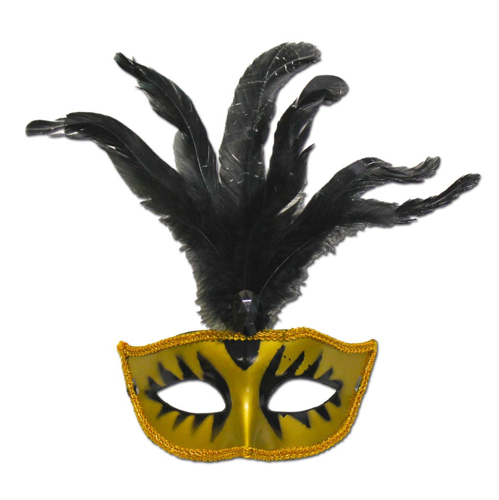 Masquerade Mask Gold With Black Feathers And Stone adult one size, carnival, fancy dress, feathers, gold, mardi gras, masks, masquerade, rio carnival, venetian, womens