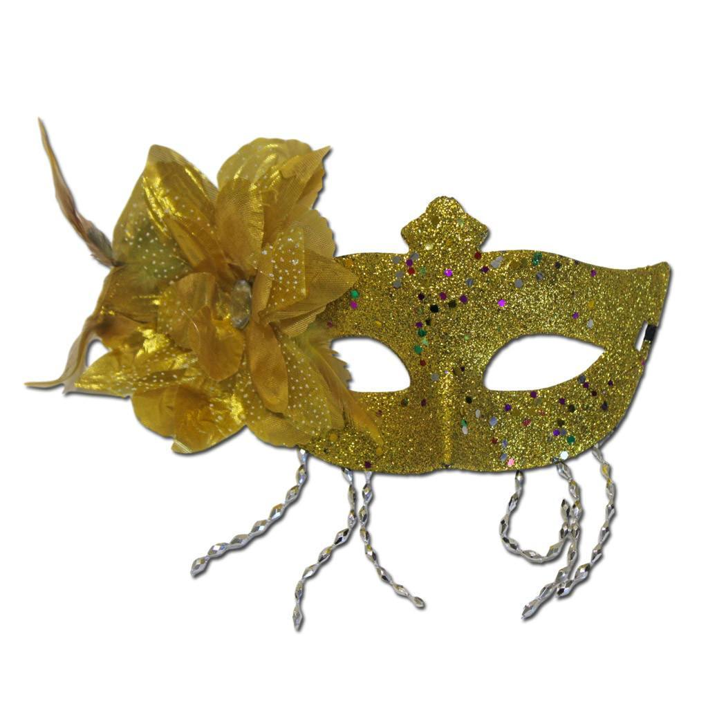 Masquerade Mask - Gold Masquerade Mask Large Flower And Tassels