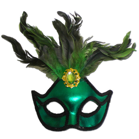 Ladies Green Masquerade Mask With Large Jewel