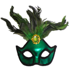 Masquerade Mask - Ladies Green Masquerade Mask With Large Jewel