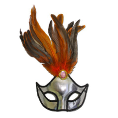 Masquerade Mask - Ladies Silver Masquerade Mask With Large Jewel
