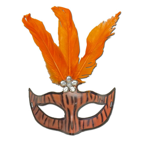 Ladies Orange Zebra Masquerade Mask With Feathers carnival, fancy dress, feathers, mardi gras, masks, masquerade, orange, rio carnival, venetian, womens, zebra