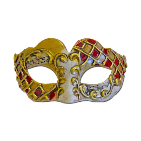 Petite Classic Opera Masquerade Mask - Gold and Red