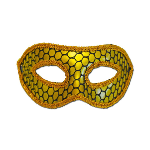 Fishnet Gold Masquerade Mask With Trim