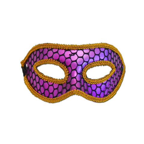 Fishnet Purple Masquerade Mask With Trim