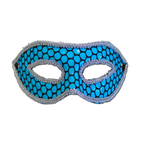 Fishnet Light Blue Masquerade Mask With Trim