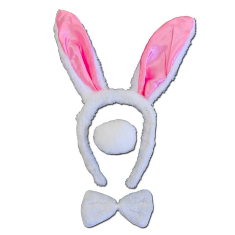 White Bunny Ears With Bow Tie And Tail accessories, alice in wonderland, animals, bow tie, bunny, childrens, costume, ears, fancy dress, girls, rabbit, tail, white