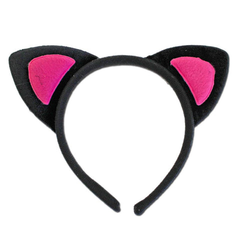 Fancy Dress Costume Accessory - Black Alice Band Cat Ears With Pink